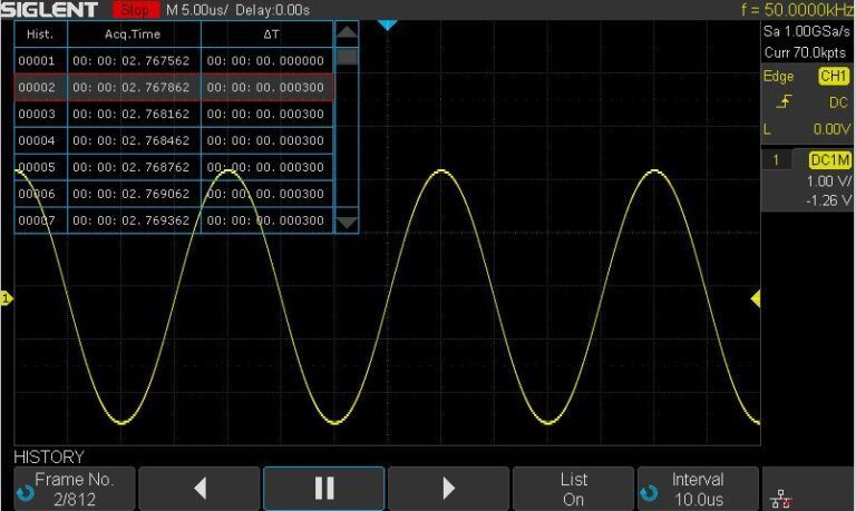 History Waveforms (History) Mode and Segmented Acquisition (Sequence)